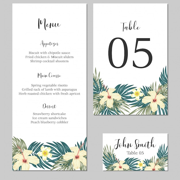 Tropical floral wedding stationary card template Premium Vector