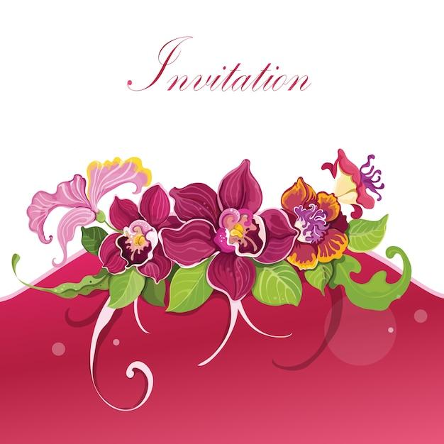 Tropical flower invitation design background Free Vector