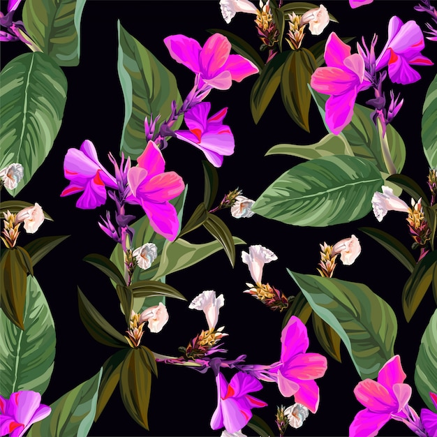 Tropical flower and leaves and canna lily seamless pattern Premium Vector