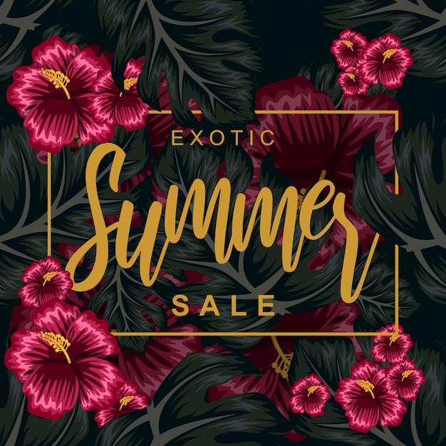 Tropical flower for summer poster illustration Premium Vector