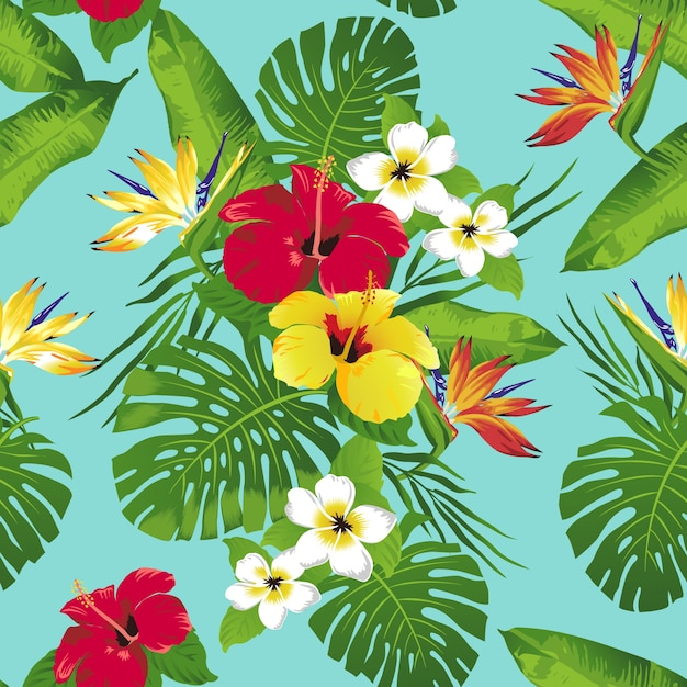 Tropical Flowers And Leaves On Blue Background Seamless Premium Vector