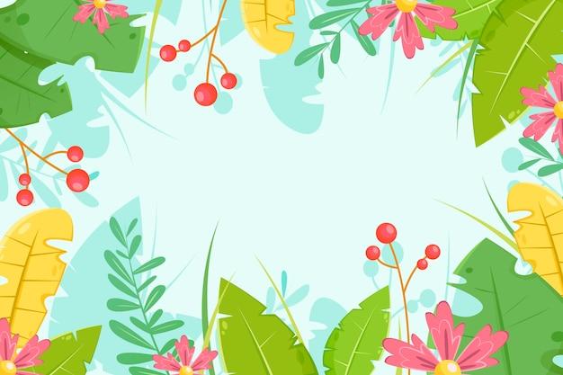 ズームのための熱帯の花の背景 無料ベクター