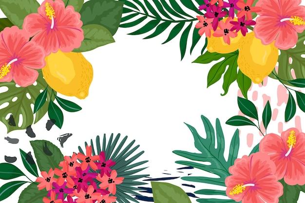 Тропические цветы фон для увеличения Бесплатные векторы
