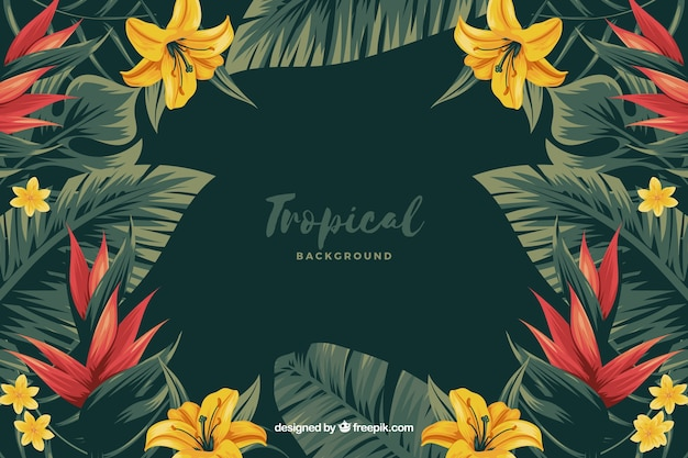 Tropical flowers background Free Vector