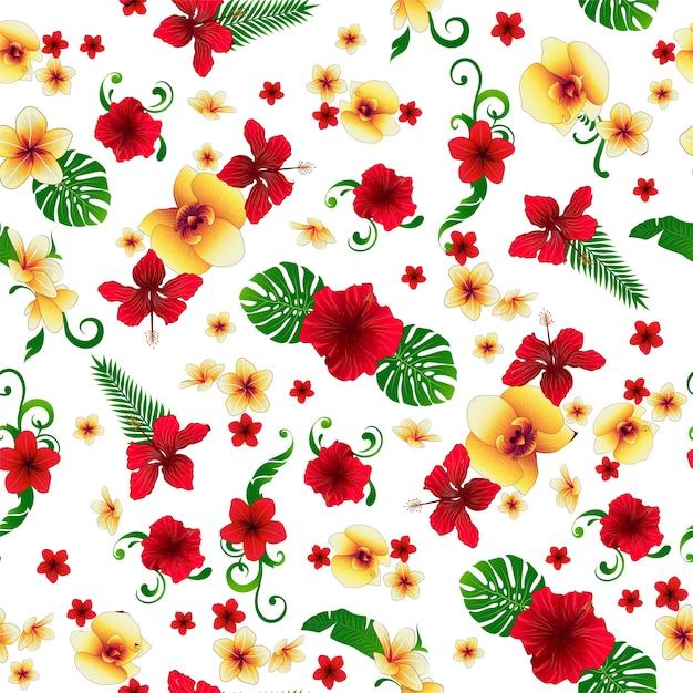 Тропические цветы. цветочный фон цветы бесшовные модели. Premium векторы