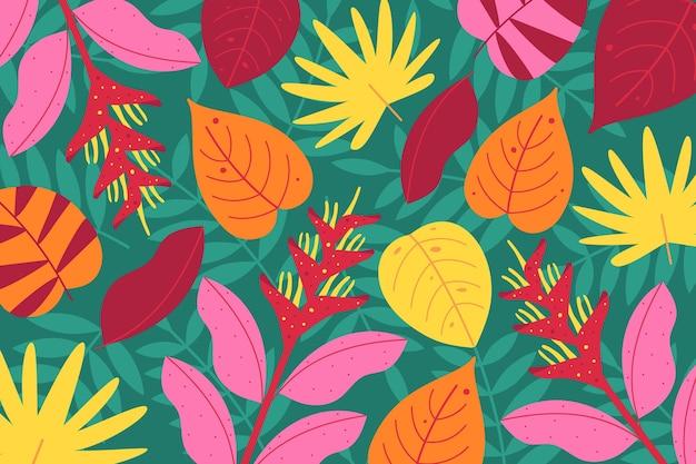 Тропические цветы для увеличения фона Бесплатные векторы
