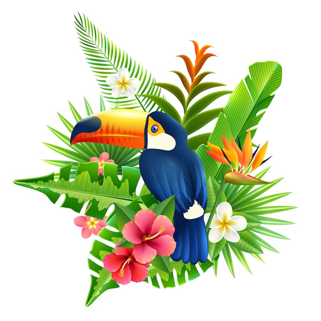 Tropical flowers illustration Free Vector