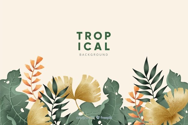 Tropical flowers and leaves collection Free Vector