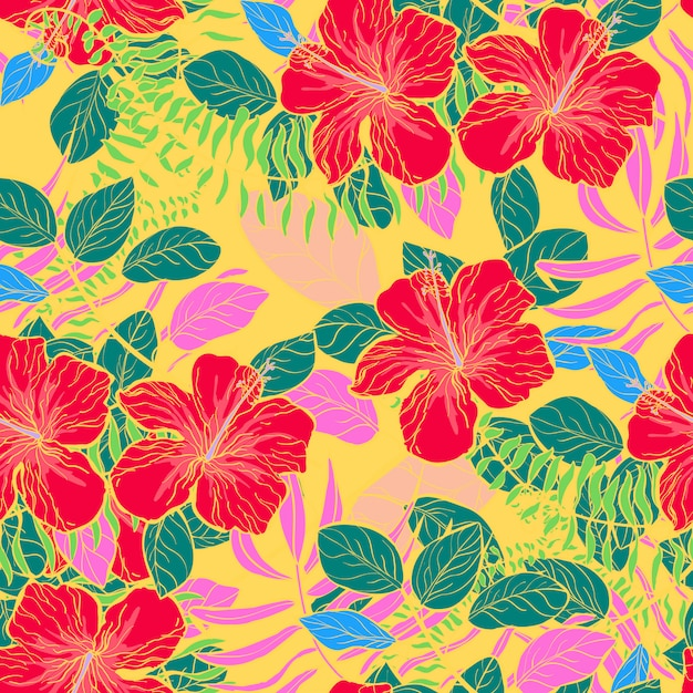 Tropical flowers and leaves of plants jungle vector seamless pattern. Premium Vector