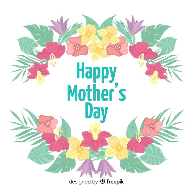 Tropical flowers mother's day background Free Vector