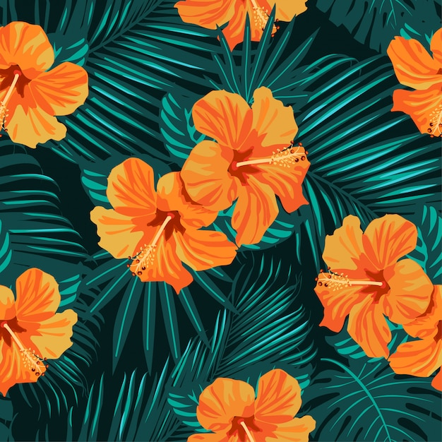 Tropical flowers and palm leaves seamless pattern. Premium Vector
