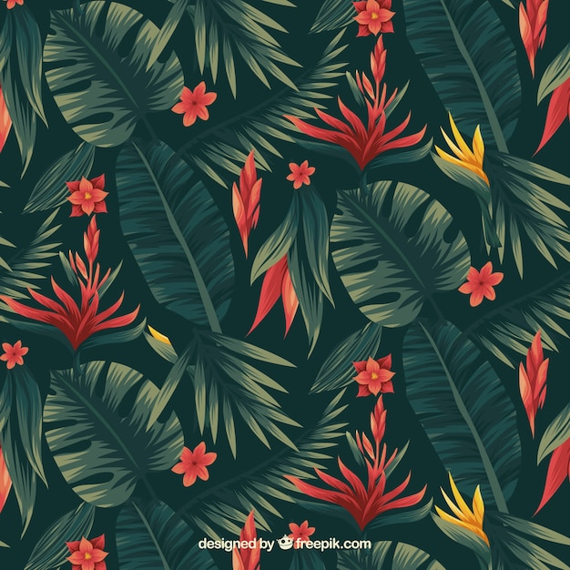 Tropical flowers pattern Free Vector