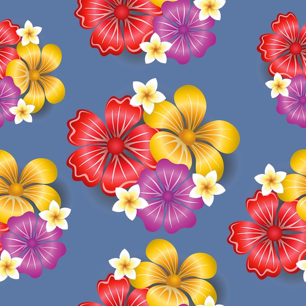 Tropical flowers seamless pattern background Free Vector