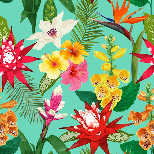 Tropical flowers seamless pattern. tiger lily flower and hibiskus. watercolor blooming Premium Vector