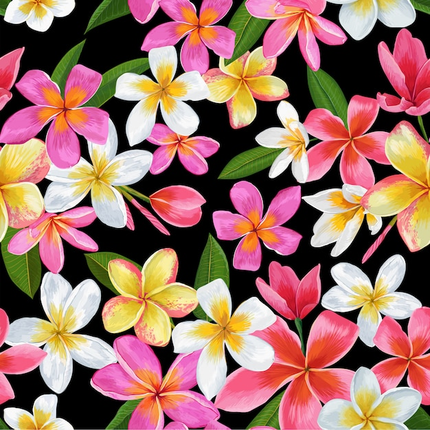 Tropical flowers seamless pattern Premium Vector