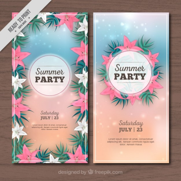 Tropical flowers summer party flyer