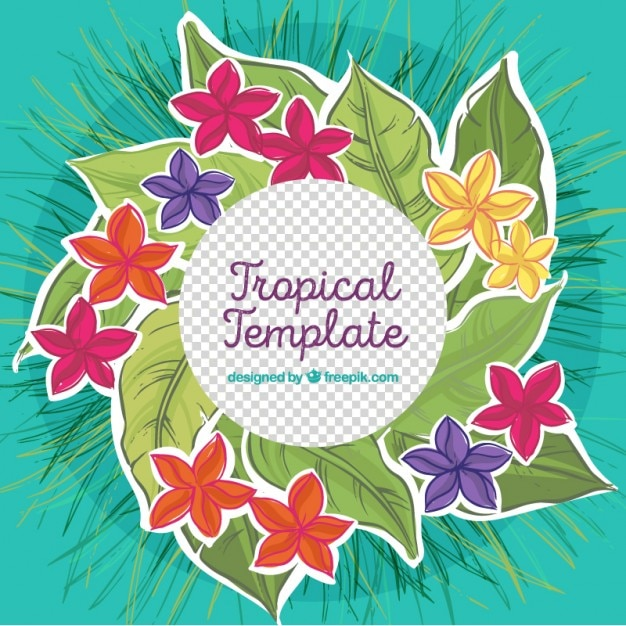 tropical flowers template vector free download