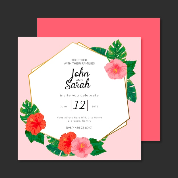 Tropical Flowers Wedding Invitation Template Vector Free Download