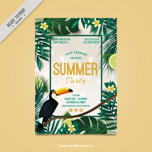 Tropical flyer of summer party Free Vector