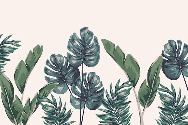 열대 단풍 벽화 벽지 무료 벡터