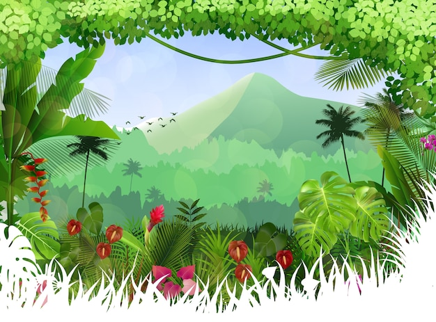 Tropical forest background Premium Vector