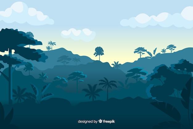 Paesaggio della foresta tropicale su tonalità blu Vettore gratuito