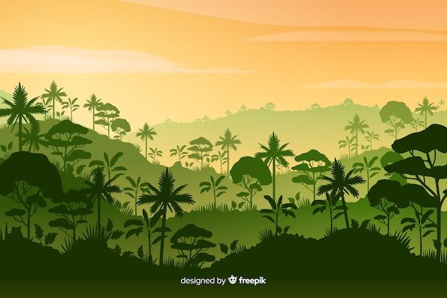 Тропический лесной пейзаж с густым лесом Бесплатные векторы