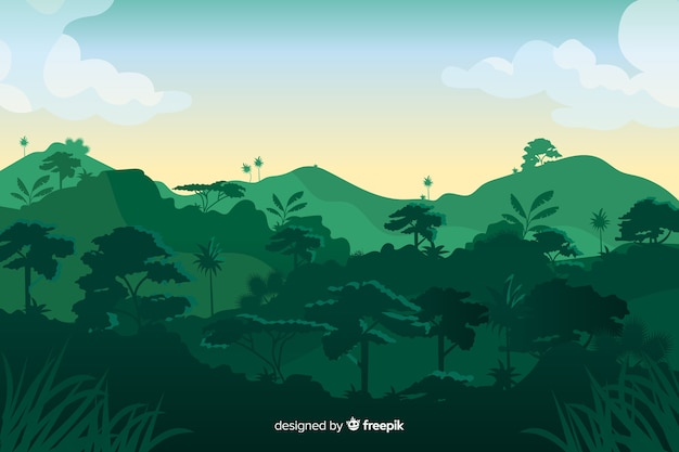 Tropical forest landscape with mountains Premium Vector