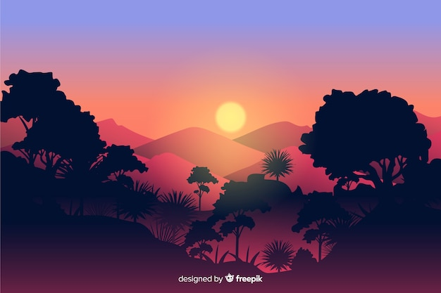 Tropical forest landscape with sun and mountains Free Vector