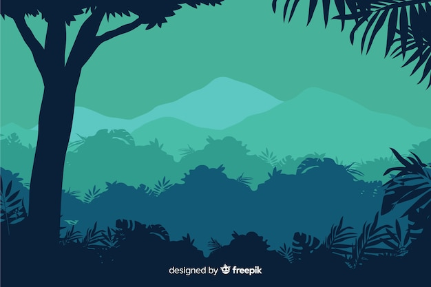 Tropical forest landscape with tree and mountain view Free Vector