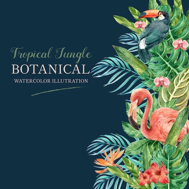 Tropical frame border summer with plants foliage exotic, creative watercolor Free Vector