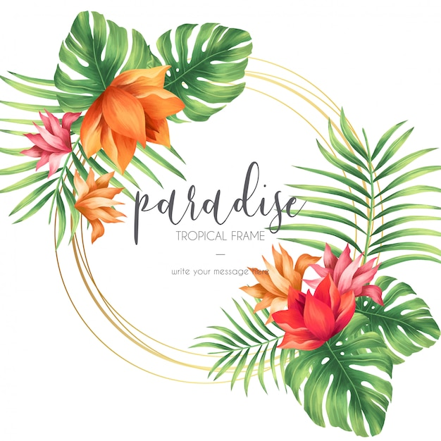 Tropical frame with exotic nature Free Vector