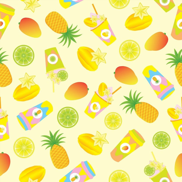 Tropical Fruit And Juice Pattern Background Free Vector