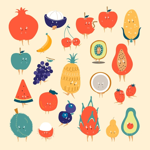 Tropical fruit cartoon characters vector set Free Vector