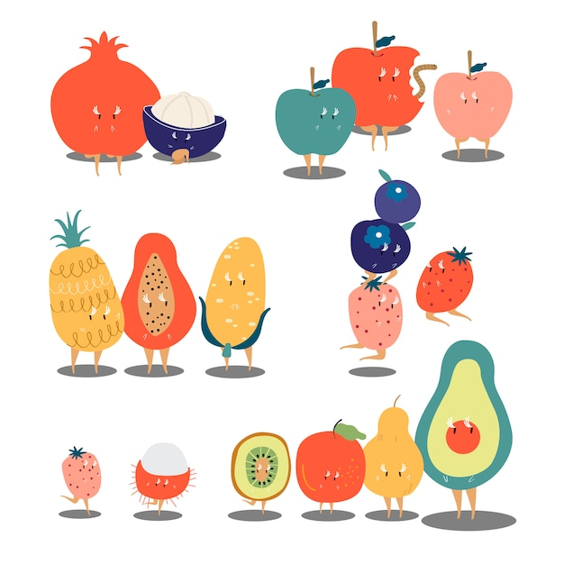 Tropical fruit cartoon characters vector set Free Vector