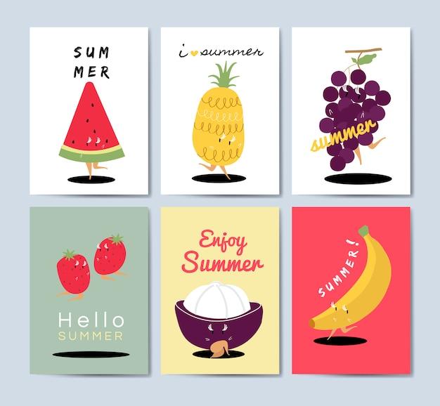 Tropical fruit cartoons greeting card vector set Free Vector