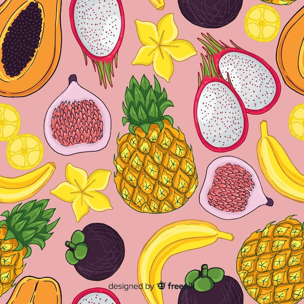 Tropical fruit pattern Free Vector