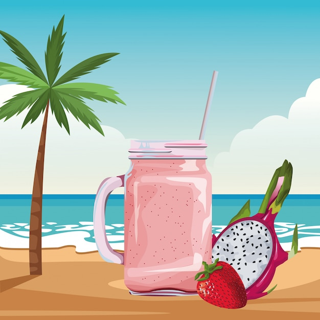 Tropical fruit and smoothie drink Free Vector