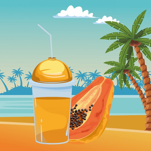 Tropical fruit and smoothie drink Vector | Free Download