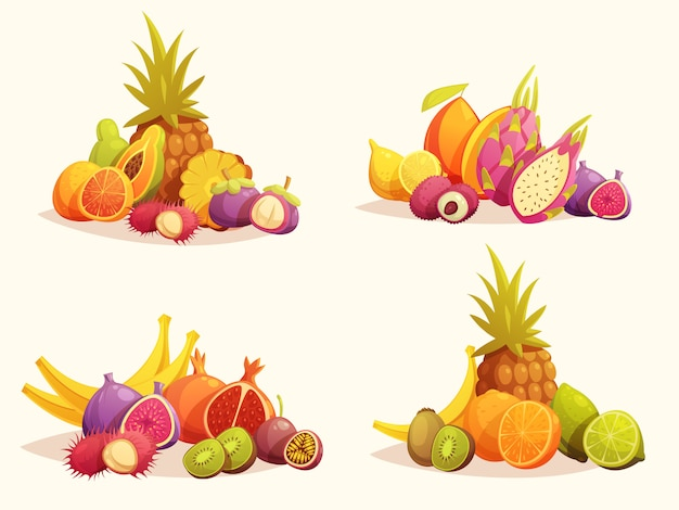 Tropical fruits 4 colorful compositions set Free Vector
