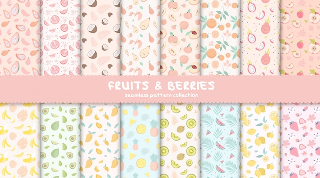 Tropical fruits and berries seamless pattern collection Premium Vector