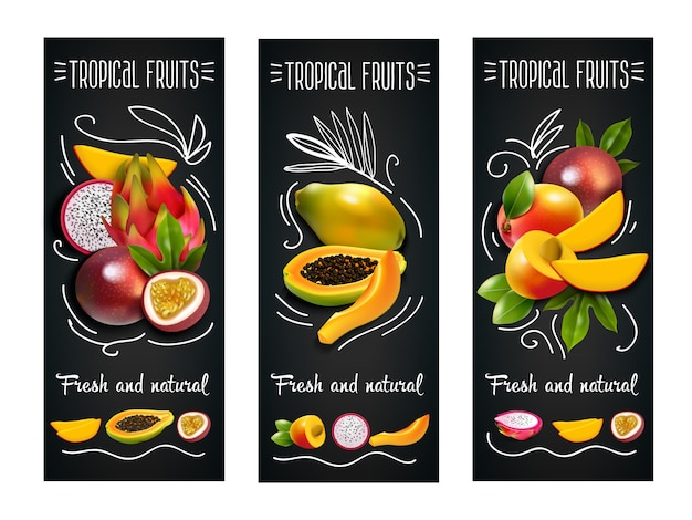 Tropical fruits chalkboard label set Free Vector