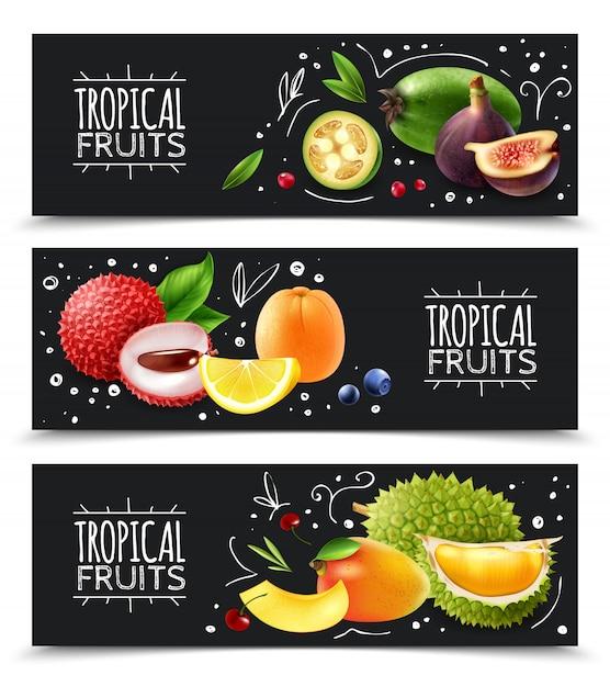 Горизонтальные баннеры с тропическими фруктами Бесплатные векторы
