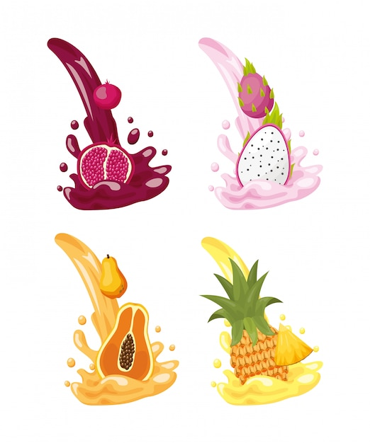 Tropical fruits logos Free Vector