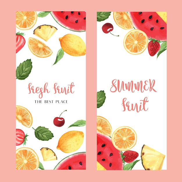 Дизайн меню из тропических фруктов, маракуйя, летний арбуз, манго, клубника, апельсин Бесплатные векторы