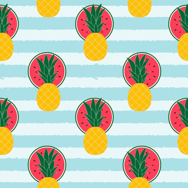 Tropical fruits pattern background Premium Vector