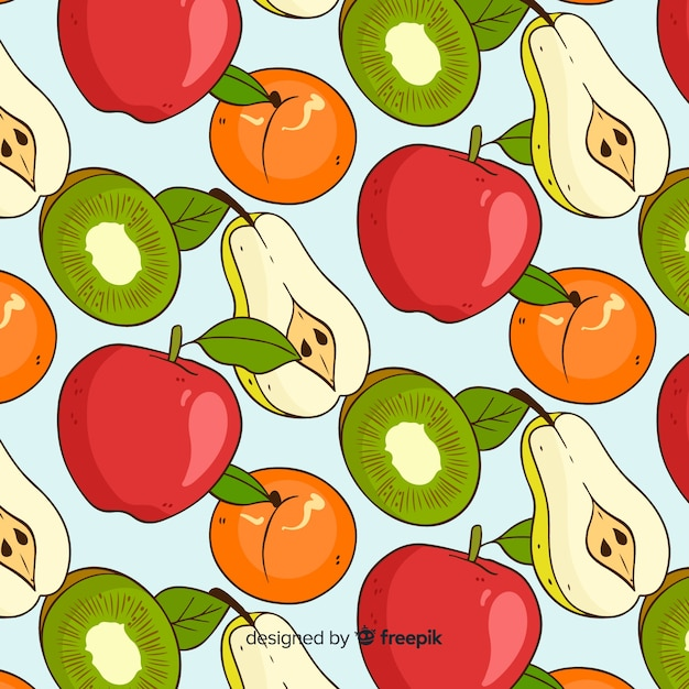 Tropical fruits pattern Free Vector