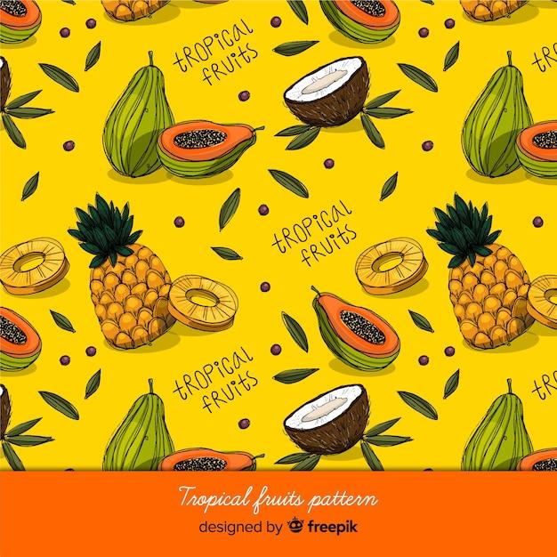Тропические фрукты Premium векторы