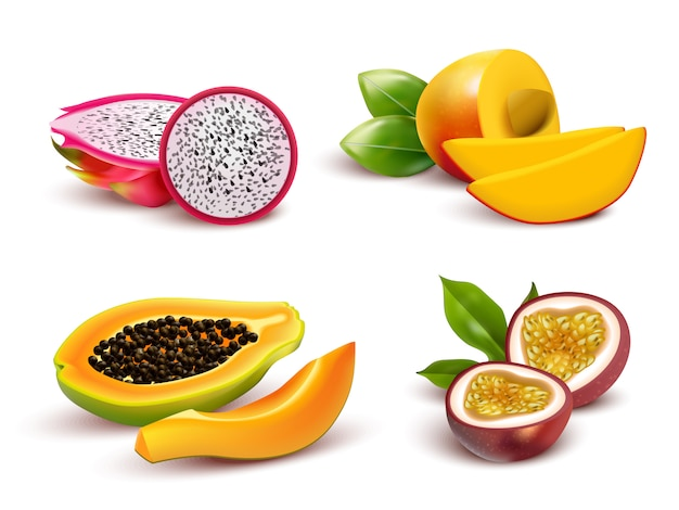 Tropical fruits realistic set Free Vector