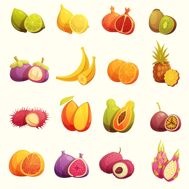 Tropical fruits retro cartoon icons set Free Vector